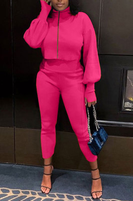Rose Red Women Long Sleeve Zipper Pure Color Bodycon Pants Sets QMQ7064-3
