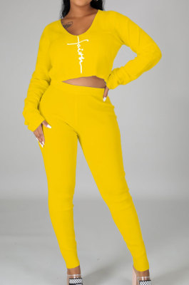 Yellow Women Autumn Winter Sexy Crop Personality Printing Pants Sets PY0838-2