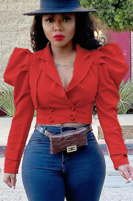 Red Fashion Newest Puff Sleeve Lapel Neck Double-Breasted Solid Color Coat TZ1207-2