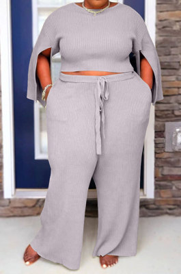 Gray Fat Woman New Slit Sleeve Round Neck Top Wide Leg Pants Solid Color Sets SY8824-4