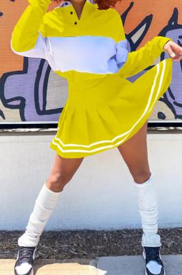 Yellow Preppy Newest Spliced Long Sleeve Lepal Neck Top Side Strip Mini Skirts Sport Sets SZS8165-3