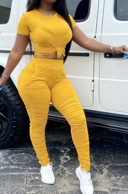 Yellow Women Shirred Detail Pure Color Short Sleeve T Shirt Bodycon Pants Sets AL153-3