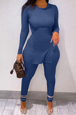 Blue Newest Big Yrads Pure Color Long Sleeve Round Neck Double Slit Top Bodycon Pants Sets YFS10027-2