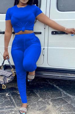 Blue Women Shirred Detail Pure Color Short Sleeve T Shirt Bodycon Pants Sets AL153-7