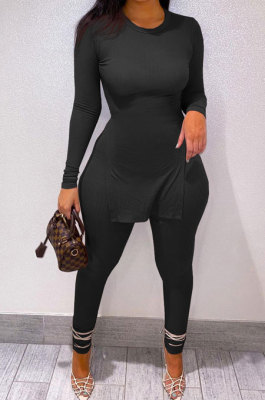 Black Newest Big Yrads Pure Color Long Sleeve Round Neck Double Slit Top Bodycon Pants Sets YFS10027-3