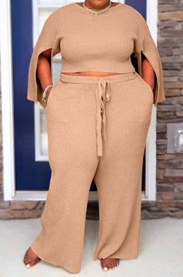Khaki Fat Woman New Slit Sleeve Round Neck Top Wide Leg Pants Solid Color Sets SY8824-1