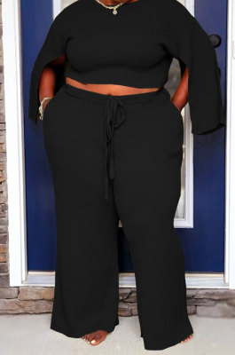 Black Fat Woman New Slit Sleeve Round Neck Top Wide Leg Pants Solid Color Sets SY8824-2
