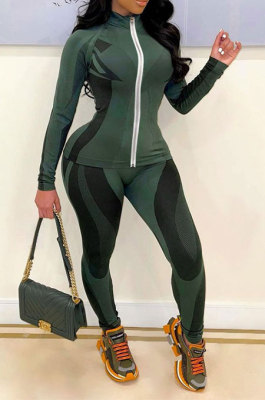 Army Green Autumn Winter New Digital Print Long Sleeve Zip Front Coat Pencil Pants Casual Sets QSS51047-2