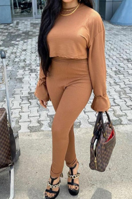 Light Brown Fashion Ribber Horn Sleeve Round Collar Top Pencil Pants Slim Fitting Two-Piece TD80055-3
