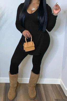 Black Women Solid Color V Collar Split Trendy Pants Sets SMY81117-1
