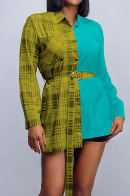 Yellow Plaid Digital Print Contrast Color Spliced Long Sleeve Single-Breasted With Beltband Shirts SZS8170-1
