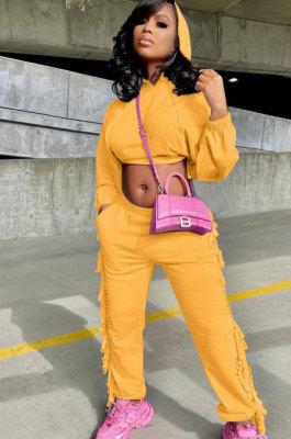 Orange Euramerican Trendy Solid Color Autumn Winter Loose Crop Hooded Tassel Pocket Pants Sets AYM5038-2