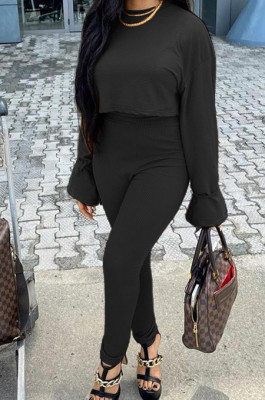 Black Fashion Ribber Horn Sleeve Round Collar Top Pencil Pants Slim Fitting Two-Piece TD80055-2