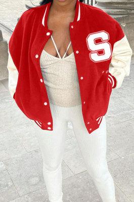 Red Autumn Winter Women Euramerican Fashion Cardigan Printing Ribber Coat SMY81116-1