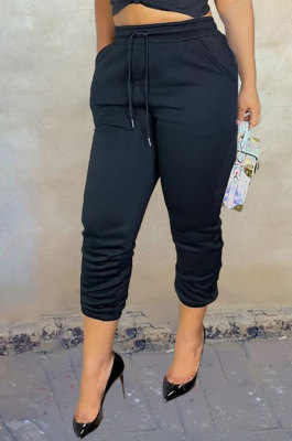 Black Sport Casual Solid Color Drawsting Ankle Banded Pants BBN205-4