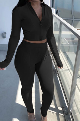 Black Newest Simple Long Sleeve Zip Front Coat Bodycon Pants Solid Color Sets ARM8307-2
