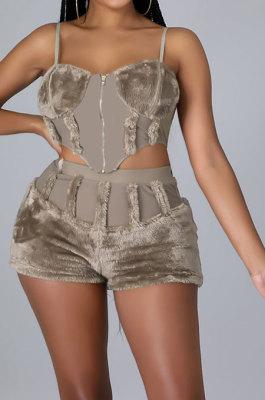 Khaki Women Sleeveless Strapless Tank Pure Color Sport Sexy Condole Belt Shorts Sets YF9248-2