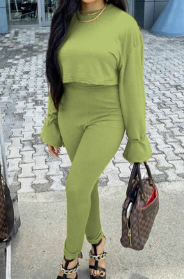 Light Green Fashion Ribber Horn Sleeve Round Collar Top Pencil Pants Slim Fitting Two-Piece TD80055-1