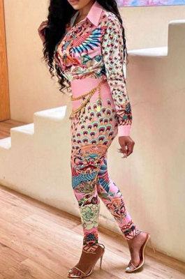 Pink Wholesale Autumn Winter Positioning Print Long Sleeve Lapel Neck Shirt Bodycon Pants OL Sets CM2156-2
