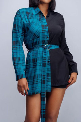 Peacock Blue Plaid Digital Print Contrast Color Spliced Long Sleeve Single-Breasted With Beltband Shirts SZS8170-3