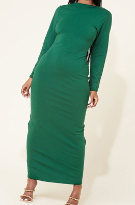 Green Women Long Sleeve Pure Color Both Sides Wear Fashion Plus Long DressAYM5037-1