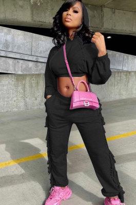 Black Euramerican Trendy Solid Color Autumn Winter Loose Crop Hooded Tassel Pocket Pants Sets AYM5038-3