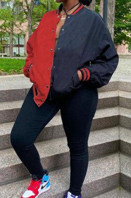 Red Casual Contrast Color Webbing Spliced Long Sleeve Cardigan Baseball Coat CYY00031-1