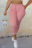 Pink Sport Casual Solid Color Drawsting Ankle Banded Pants BBN205-1