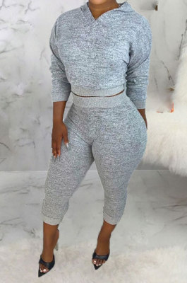 Gray Women Hooded Pure Color Casual Bodycon Pants Sets ABL6695-1