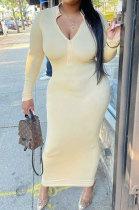 Yellow Wholesale Autumn Winter Long Sleeve Zip Front Slim Fitting Long Dress E8615-2