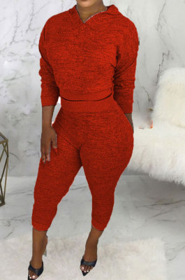 Red Women Hooded Pure Color Casual Bodycon Pants Sets ABL6695-2