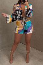 Black Women Long Sleeve Cardigan Fashion Printing Single-Breasted Turn-DownCollar Shorts Sets YY5301-2