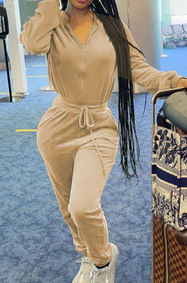 Apricot Casual Newest Velvet Long Sleeve Stand Neck Zip Front Collcet Waist Drawsting Jumpsuits LY047-4