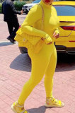 Yellow Ribber Letter Embroidery Long Sleeve Zip Front Solid Color Bodycon Jumpsuits D8456