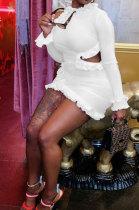White Wholesale Sexy Ruffle Side Long Sleeve Off Shoulder Slim Fitting Mini Dress KY3095-2