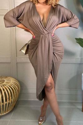 Brown Cotton Blend Sexy Long Sleeve Deep V Collar Ruffle Slit Dress AMX6060-3