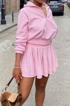 Pink Newest Cotton Blend Velvet Long Sleeve Zipper Tops Mini Skirts Tennis Wear Sport Sets DN8632-2
