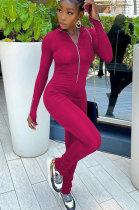 Pink Women Solid Color Long Sleeve Zipper Ruffle Pants Mid Waist Bodycon Jumpsuits AA5281-3