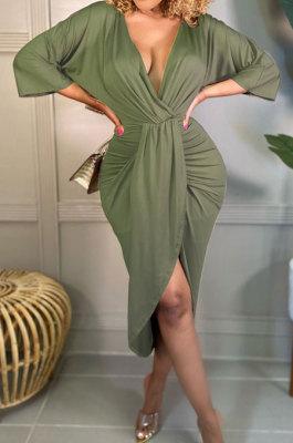 Army Green Cotton Blend Sexy Long Sleeve Deep V Collar Ruffle Slit Dress AMX6060-2