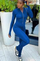 Blue Women Solid Color Long Sleeve Zipper Ruffle Pants Mid Waist Bodycon Jumpsuits AA5281-2