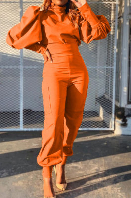 Orange Women Trendy Pure Color Puff Sleeve Pullover High Waist Pants Sets MR2121-2