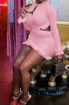 Pink Wholesale Sexy Ruffle Side Long Sleeve Off Shoulder Slim Fitting Mini Dress KY3095-1
