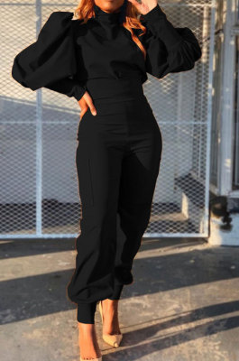 Black Women Trendy Pure Color Puff Sleeve Pullover High Waist Pants Sets MR2121-1