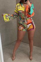 Orange Women Long Sleeve Cardigan Fashion Printing Single-Breasted Turn-DownCollar Shorts Sets YY5301-1