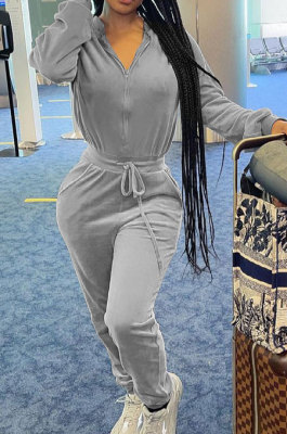 Gray Casual Newest Velvet Long Sleeve Stand Neck Zip Front Collcet Waist Drawsting Jumpsuits LY047-2