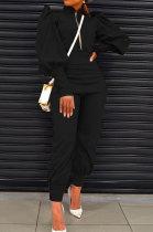 Black Women Fashion Solid Color Puff Sleeve Zipper High Waist Pants Sets MR2120-2