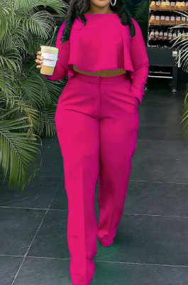 Rose Red Fashion Wholesale Long Sleeve Irregularity Tops Wide Leg Pants Slim Fitting Sets D8454-3