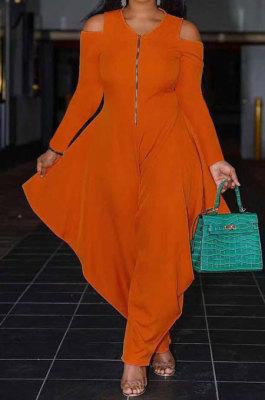 Orange Modest Newest Long Sleeve Off Shoulder Zip Front Loose Solid Color Jumpsuits AMX6057-1