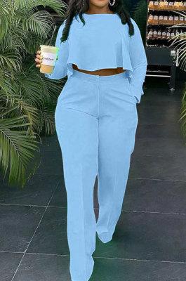 Sky Blue Fashion Wholesale Long Sleeve Irregularity Tops Wide Leg Pants Slim Fitting Sets D8454-2