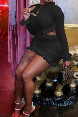 Black Wholesale Sexy Ruffle Side Long Sleeve Off Shoulder Slim Fitting Mini Dress KY3095-3